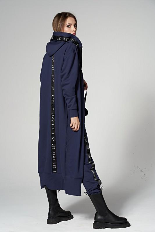 Hoodiemantel Long - Dunkelblau