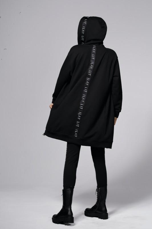 Hoodiemantel Midi Black